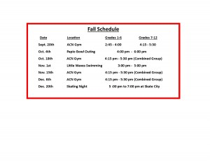 Fall 2015 Rec Club Short Schedule