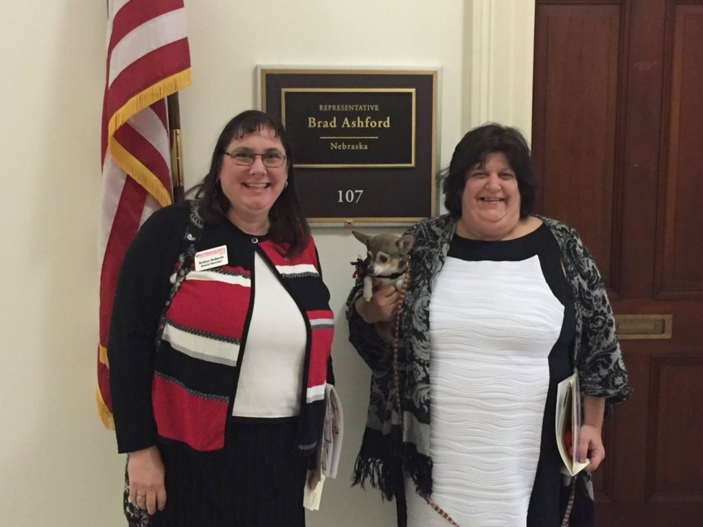 ASN Board Members Robyn Roberts (left) and Janine Brooks (right) in Washington, D.C., in 2016, participating in Autism Society of America's Day on the Hill events.