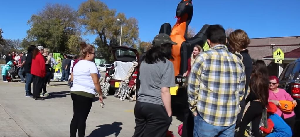 In this image captured by O-City Films in October 2018, members of the Grand Island autism community gather for the Autism Society of Nebraska Grand Island Support Network Trunk or Treat.
