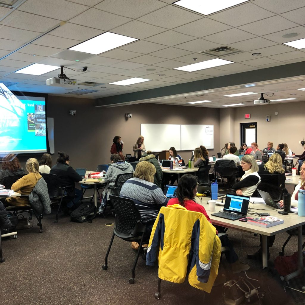 PHOTO: Presenters at the PEERS Training Event at the Milford, Nebraska ESU 6 Building speak to dozens of educators, parents, and providers.